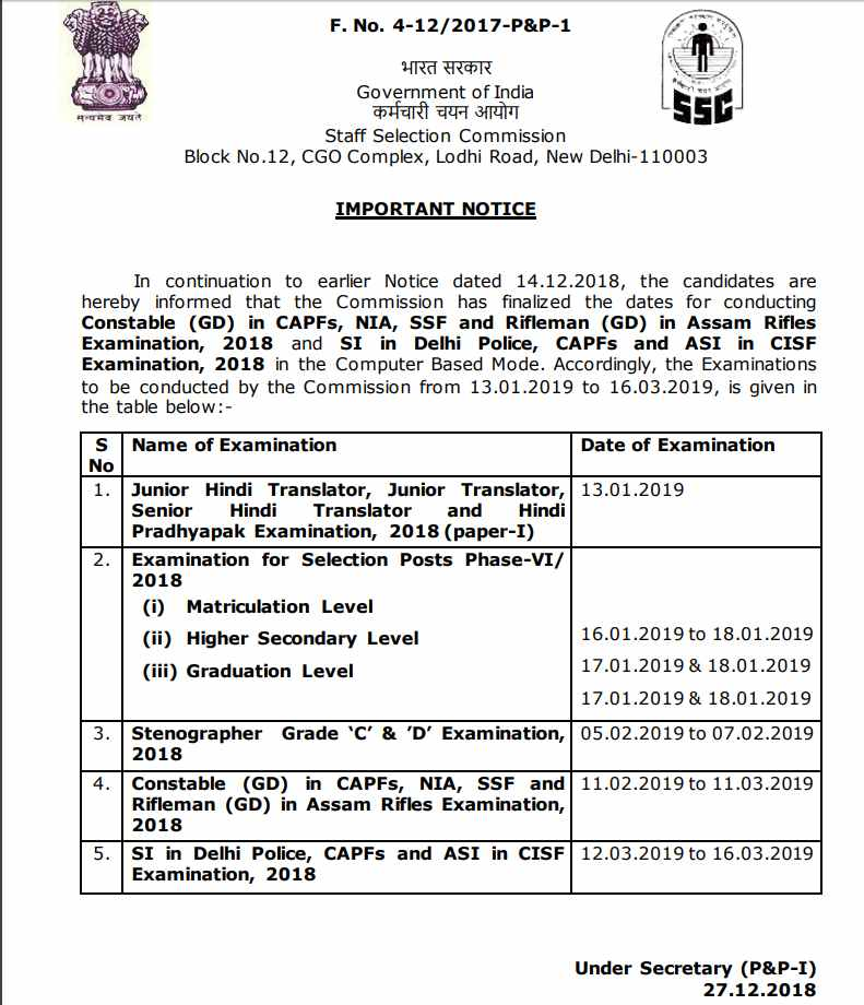 SSC Exam Date 2019 Schedule