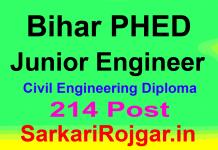 Bihar PHED Junior Engineer