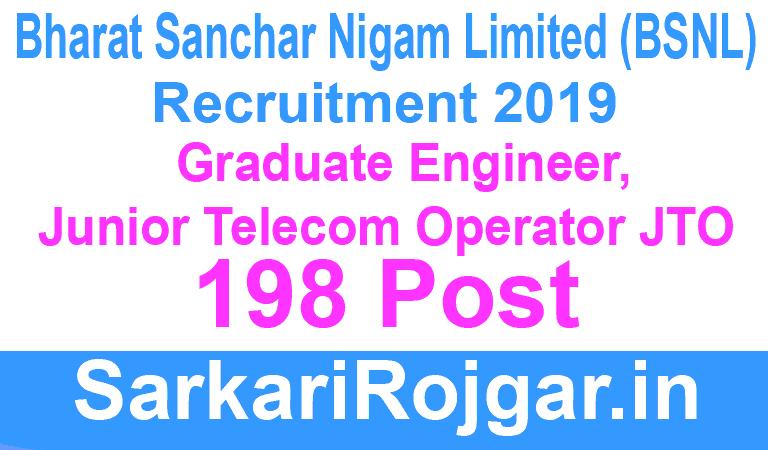 BSNL JTO Recruitment Apply Though Gate 2019