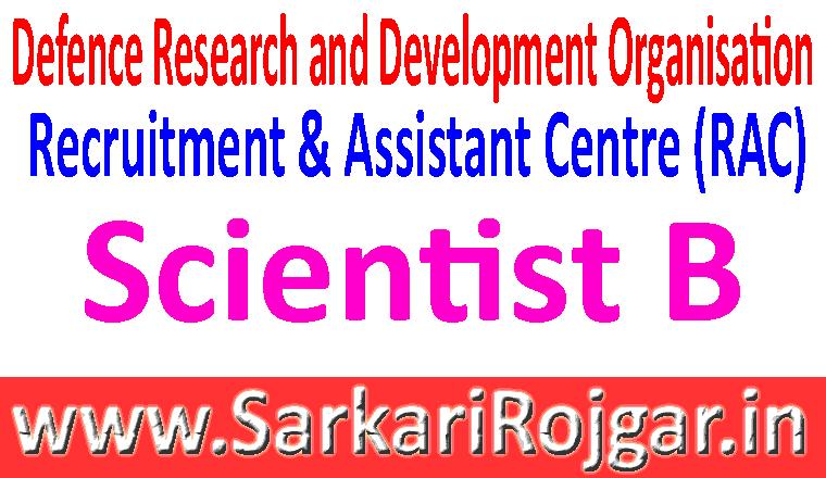 DRDO Scientist B Recruitment